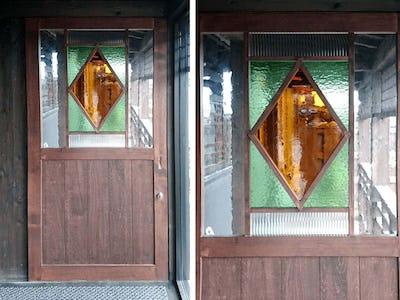 居酒屋のドアガラスと窓ガラスに!デザインガラス5種類を使用した事例 (K様)