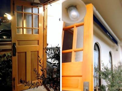 店舗ドアにデザインガラス3種類を使用した事例