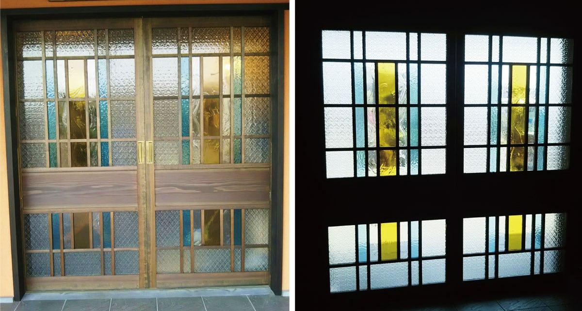 お寺の窓に使用したデザインガラス-2