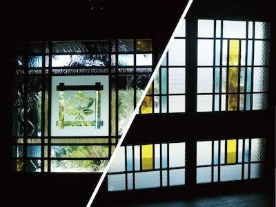 お寺の玄関にデザインガラス3種を使用した事例 (水の星一級建築設計室様)