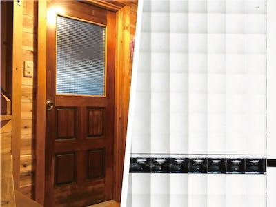 自然光が差し込むドア窓に!「デザートペア チェッカーガラス」を使用してリフォームを行った事例 (愛知県 T様)