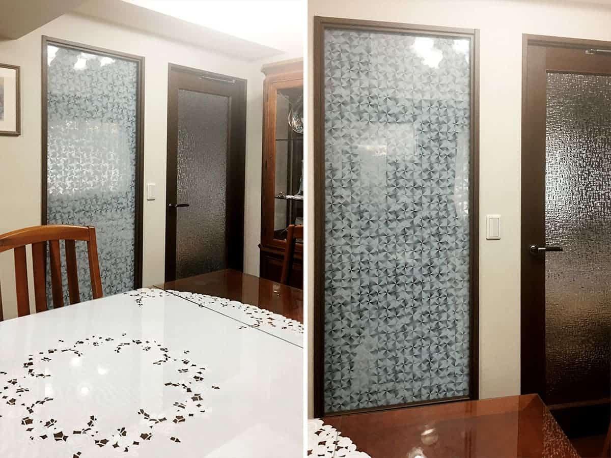 室内窓に使用した「デザインフィルムガラス」-ガラス交換後