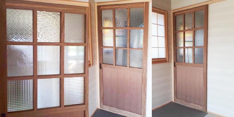 組み合わせて個性的な建具に!デザインガラス7種を使用してオシャレなドア窓を製作した事例(熊本県H様)