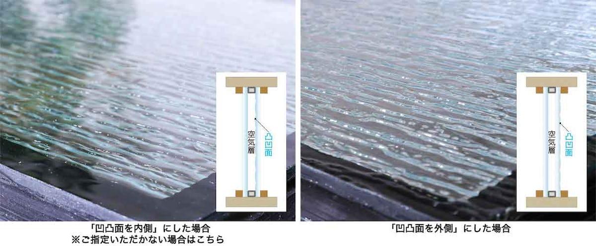 デザインガラスの凹凸面の向き