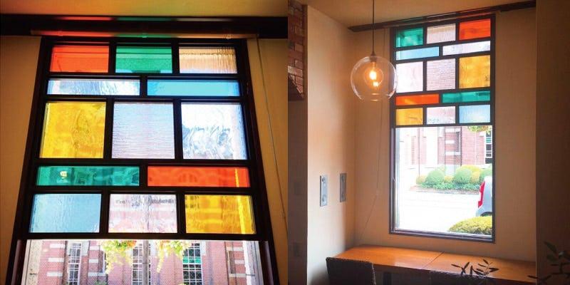 店舗の装飾窓にデザインガラス6種を使用した事例 (岩手県O様)