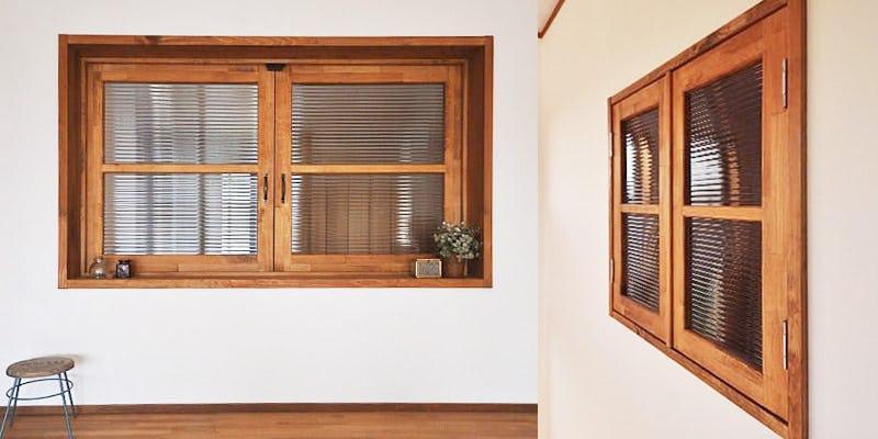 室内窓にモールガラスを設置した事例