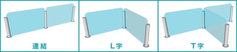 ガラス間仕切りポールを使ったガラス板の連結方法3種