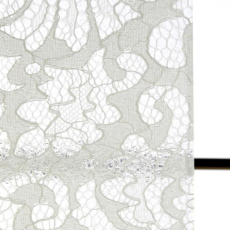 レースガラス エスニック花柄 ホワイト